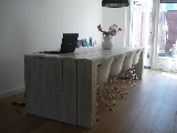 tafel steigerhout blokzijkante + white wash