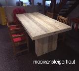 tafel steigerhout met kolompoten