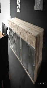 groot bench dressoir van steigerhout.