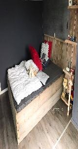 2 persoons bed van steigerhout.